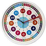 Qesnox Kids Wall Clock Time Teacher Children Wall Clock Silent Non Ticking. Wall Clock for Kids Bedroom, Office Clock. Clock to Teach, Read and Learn to tell the Time. (30CM)