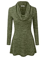 Doublju Womens Long Sleeve Cowl Neck A-Line Tunic Sweater Dress (Made In USA)