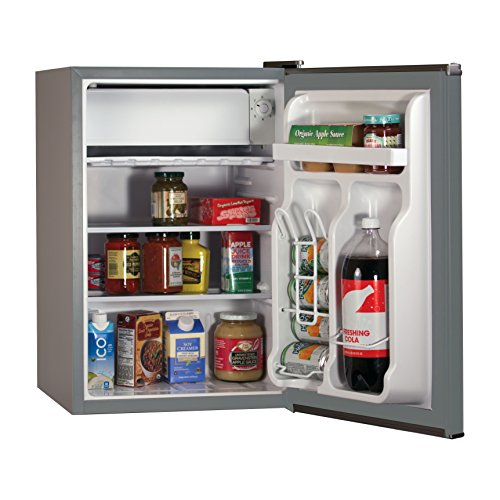 BLACK+DECKER BCRK25V Compact Refrigerator Energy Star Single Door Mini Fridge with Freezer, 2.5 Cubic Feet, VCM, Brushed Metal Finish