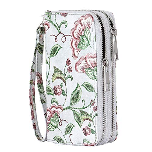 HAWEE Cellphone Wallet Dual Zipper Wristlet Purse with Credit Card Case/Coin Pouch/Smart Phone Pocket Soft Leather for Women or Lady, Morning Glory-Green