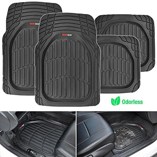 Motor Trend Front & Rear Seat Mats FlexTough Tortoise, Heavy Duty Rubber Floor Mats for Car SUV Van & Truck, All Weather Protection Deep Dish Mats