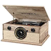 Victrola Wood Bluetooth Mid Centry Record Player with 3-Speed Turntable and Radio - Manufacturer Refurbished
