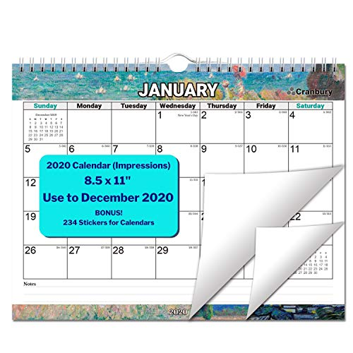 Small Wall Calendar 2020 (Impressions) 8.5x11 Inch, Use Now to December 2020, Monthly Wall or Desk Calendar, Stunning Impressionist Designs, with Stickers for Calendars, by Cranbury