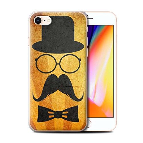 Telefoonhoesje voor Apple iPhone SE 2020 Retro Moustache Stuur/Bril Ontwerp Transparant Helder Ultra Slim Dun Hard Back Cover