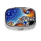 Fractal Spiral Blue Custom Fashion Silver Square Pill Box Medicina Tablet Holder Cartera Organizador Estuche para bolsillo o bolso