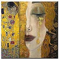 NYIXIA 数字油絵 フレーム付き 、数字キット塗り絵 手塗り DIY絵、ゴールデンティアーズグスタフクリムト、初心者 子供と大人のためのキャンバス油絵キット、数字キットによるペイント - 40*50cm
