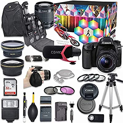 Canon EOS 80D DSLR Camera Deluxe Video Kit with Canon EF-S 18-55mm f/3.5-5.6 is STM Lens +Video Pro Microphone + SanDisk 32GB SD Memory Card + Accessory Bundle by Canon