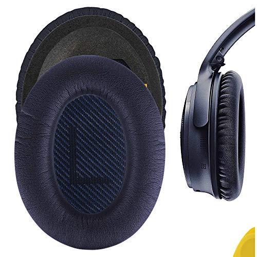 Geekria QuickFit Coussinets de rechange en cuir protéiné pour casque Bose QuietComfort 35 II, QC 35 (Series II), QC25, Around-Ear AE2 (Bleu nuit)