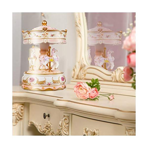 Dragon-Hub Music Box 3-Horse Carousel Gifts for Kids Children Girls Christmas Birthday Valentine's Gifts Decorations… 8
