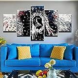 Decoracion Salon 5 Piezas de Arte Marco,Moderno HD sobre lienzos Póster Jesús Cruz Pintura Religión impresión Cuadro Usado para Hogar Oficina Regalo, Tamaño Total (H-80cmxM/B-150cm)