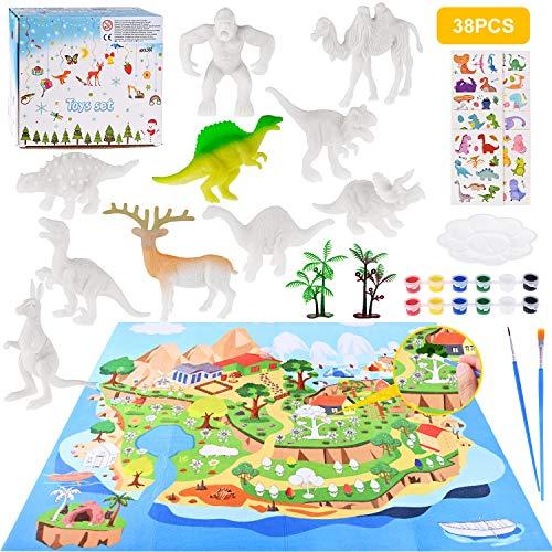 GOLDGE Dinosauro Giocattolo, 38 PCS DIY Pittura Dinosauro Kit e Tappetino da Gioco Verniciabile, Include Figurine di Dinosauro, Pigmenti, Penna, Adesivi a Tema Dinosauri