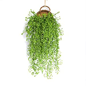 Qingsi 1 Pcs Fake Artificial Vines Flower Wall Hanging Faux Rattan Plant Flower Home Decorfor Wall Indoor Outdoor Hanging Baskets Wedding Garland Decor
