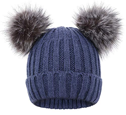 Product Image of the Arctic Paw Pom Pom Beanie for Women Cable Knit Beanie with Double Faux Fur Ears...