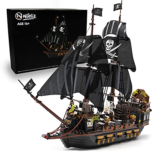 Nifeliz Black Hawk Pirates Ship Model Building Blocks Kits - Construction Set to Build, Model Set and Assembly Toy for Teens and Adult,Makes a Great Gift for People who Like Creative Play (1352Pcs)
