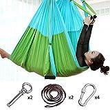 Hamaca de yoga de nylon para pilates Body Shaping Ejercicios dispositivo aéreo Yoga colgante cinturón inversión trapecio para techo de cemento, azul cielo con verde