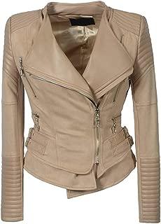 DISSA P0233 Women Faux Leather Biker Jacket Slim Coat Leather Jacket