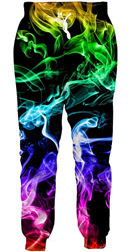ALISISTER Mens Jogger Pants Colorful Smoking Sweatpants 3D Graphic Sportswear Athletic Pants Casual Hipster Running Cuffed Pants for Women Man S