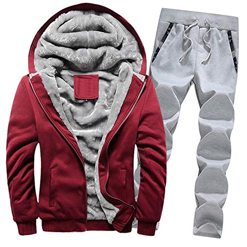 Aiserkly Herren Jogginganzug, Trainingsanzug, Sportanzug, Freizeitanzug, Hausanzug, Winter Verdicken Sporthose+Hoodie Zwei-Teilig Streetwear X-A-Rot 3XL