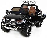 RIRICAR Ford Ranger Wildtrak de Luxe Voiture-Jouet électrique pour Enfant, 2.4Ghz Bluetooth contrôle á Distance, Deux Moteurs, Deux sièges Cuir, Roues EVA Douces, Peinture Noir