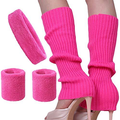 Song Qing Women 80s Dance Plain Ribbed Running Headband Wristbands Knit Crochet Long Leg Warmers Set, Rose, One Size