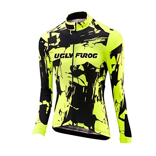 BurningBikewear Uglyfrog Clásico Ciclismo Maillot Mujers Jersey + Pantalones Largos Culote Mangas Largas de Ciclismo Conjunto Ropa Maillot para al Aire Libre Ciclo Bicicleta ACXWX01