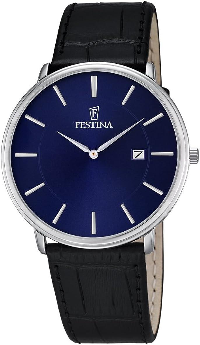 Festina Herren Analog Quarz Uhr mit Leder Armband F6839/4