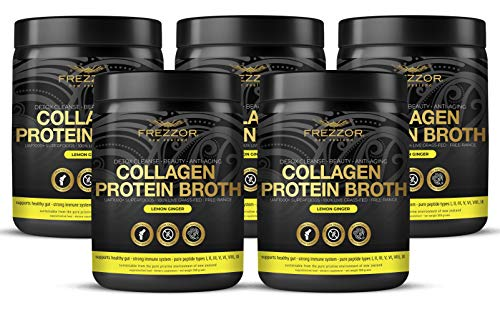 Collagen Protein Bone Broth, 100% Grass-Fed New Zealand Bovine Collagen Peptides Type I II III V VI VIII IX, Joint Pain, Anti-Aging, Weight-Loss, Improves Digestion, Lemon Ginger Flavor, 5-Pack