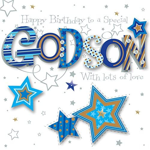 Godson Birthday Handmade Embellished Greeting Card By Talking Pictures Cards