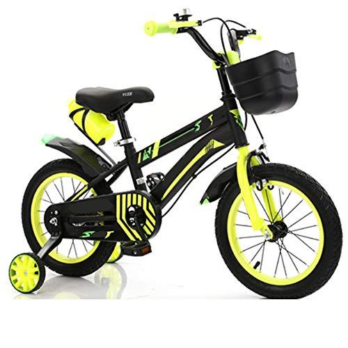 LFFME Bicicleta para Niños De 12-20 Pulgadas para Niñas Y Niños con Rueda Auxiliar, Guardabarros Y Cestas, Sillín Regulable, Marco De Acero Al Carbono,C,18