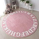 Excelente Piel sintética de Calidad Alfombra de Lana,Alfombra redonda de dibujos animados, alfombra gruesa para piso de dormitorio infantil-Pink_160 * 160,Elegante De Pelo Largo Mullida Alfombra