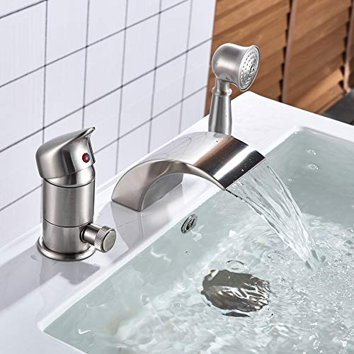 Rozin Brushed Nickel 3pcs Waterfall Spout Single Handle Bathtub Filler Faucet with Hand Shower
