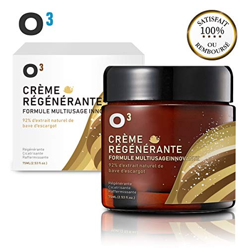 O³ Creme Bave Escargot Visage-Hydratante et Anti-Ride-Racines de ginseng et sécrétion d'escargot-100% naturelle-Soin réparateur et cicatrisant. Régénérante. Efficace contre l'acné-Pot Plus Grand 75ML
