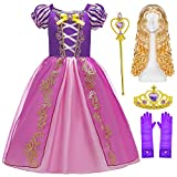 BELOAN Princess Costume Baby Girls Birthday Party Layered Dress Up with Crown Wand Wig Gloves Full Accessories Age4-5 Years Purple