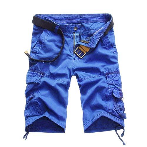 GreatestPAK Pants Beiläufige Taschen-Strand-Arbeits-zufällige Kurze Hosen-Hosen der kurzen Hosen der Männer,Blau,34