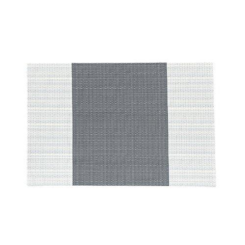 Treestar Tapis de table antidérapant carré en PVC, napperon isolant à rayures, set de table pour table de salle à manger, fêtes, pique-niques, PVC, Grey+beige, 45 x 30 cm