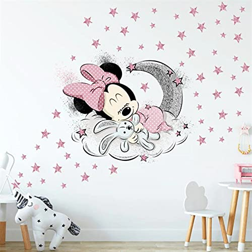 Mickey Minnie Mouse Large Wall Sticker for Kids Baby Room Nursery Interior Decoration Wall Decal (Minnie)