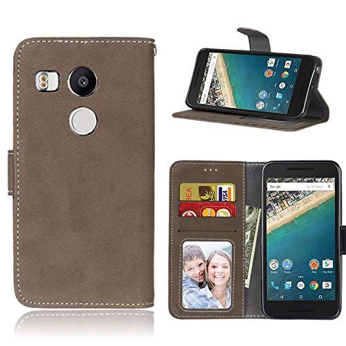 Sangrl Libro Funda para LG Google Nexus 5X, PU Cuero Cover Flip Soporte Case [Función de Soporte] [Tarjeta Ranuras] Cuero Sintética Wallet Flip Case Marrón