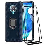 TANYO Hülle + [2 Stück] Bildschirmschutzfolie für Xiaomi Poco F2 Pro/Pocophone F2 Pro 5G, Tough Rugged Armor Stoßfest Handy Schutz Fall mit 9H Festigkeit Panzerglas Blau