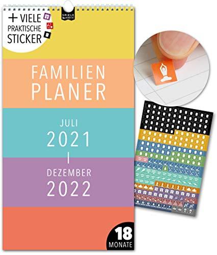 Familienplaner 18 Monate: Jul 21-Dez 22   DAS ORIGINAL   5 Spalten   Wandkalender: 23x43cm   Familienkalender + 228 Sticker, Ferien 21/22, Monatskalender, Jahresplaner, bunt, Farben, Style, Design