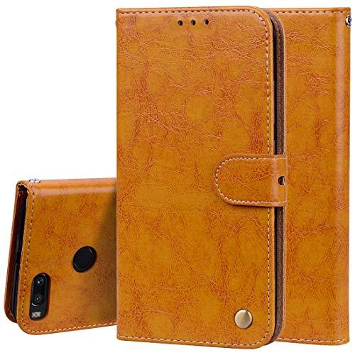 Cajas del teléfono Funda de cuero con tapa horizontal de estilo de negocio y textura de aceite Wax con soporte y ranuras for tarjetas,...