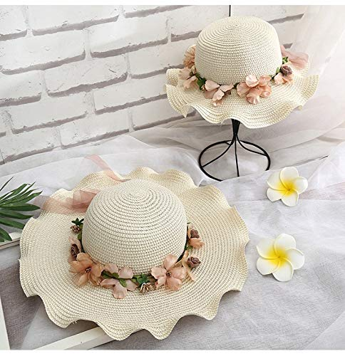 Wagrass Kinderhut für den Sommer, Eltern-Kind, Blumenband, Strohhut für Kinder,...