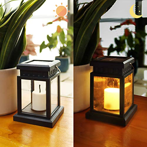 Solar Lantern Outdoor Garden Hanging Lamps - Plastic LED Flameless Candles Flickering Lights Waterproof Decorative Light for Porch Yard Lawn Patio Courtyard