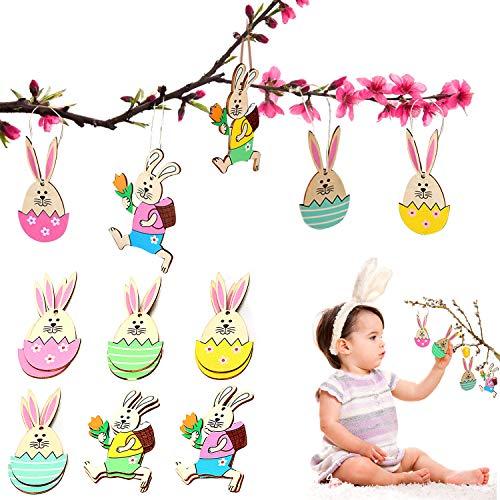 WELLXUNK Decoraciones de Pascua,12 Piezas Adorno de Conejito de Pascua, Colgante de Madera de Pascua con Cordón, Arte de Regalo para la Decoración del Hogar de Pascua
