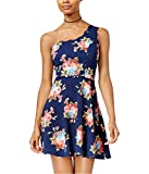Crystal Doll Womens One Shoulder Fit & Flare Dress, Blue, 9