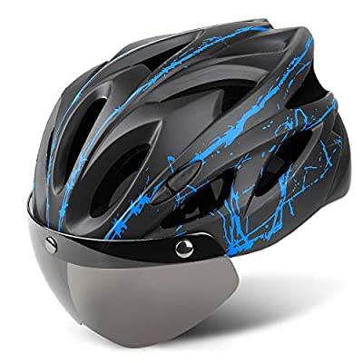 Joddmoka Bike Helmet Adult CPSC&CE Certified for Bicycle Cycling Road Mountain Helmet with Removable and Magnetic Goggle Fit Men/Women 22.8-24.4 in Blue