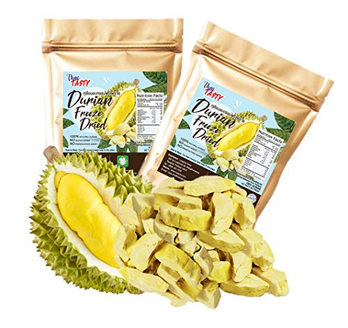 Durian King of Fruit Vacuum Freeze Dried Fresh Durian Monthong Made from Real Fruit 50 Gram or 1.75 Ounce Pack of 2
