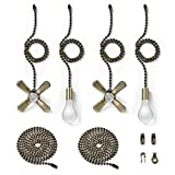 Bronze Fan Pull Chain with One Pair 35.4 inches Extension, Kinghouse 4 pcs 13.6 inches Copper Beaded Ball Fan...