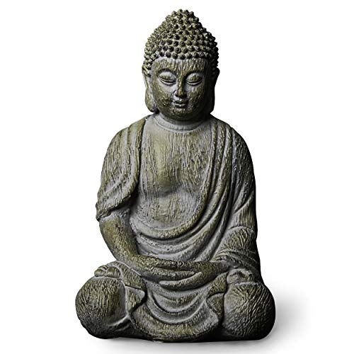 Meditating Buddha Statue Figurine, 6.7inch Buddha Serene Decorative Sitting Resin Zen Sculpture Decoration for Home Outdoor Garden Patio Desk Porch Yard Art Decoration, Zen Decor