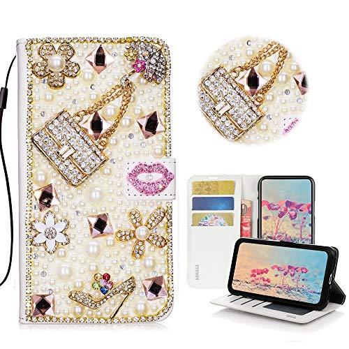 Xifanzi WIKO Y70 Glitter Hülle Hülle,3D Handtasche Absatz Lippe Strass Diamant Weiße Ledertasche PU Lederhülle Flip Hülle Ständer Wallet Tasche Hülle Schutzhülle Glitzer Handy Hülle für WIKO Y70