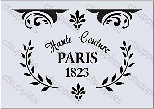 A5 Schablone Shabby Chic Vintage, Frankreich, Möbel, Stoff, Glas, wiederverwendbar (106) Mylar